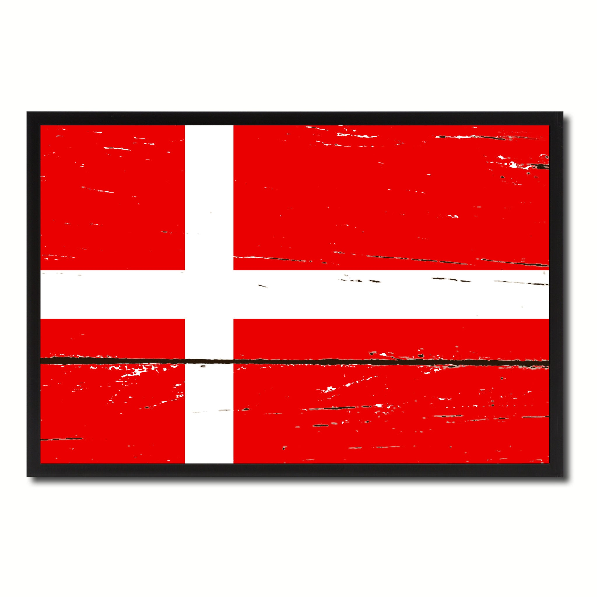Denmark Country National Flag Vintage Canvas Print with Picture Frame Home Decor Wall Art Collection Gift Ideas