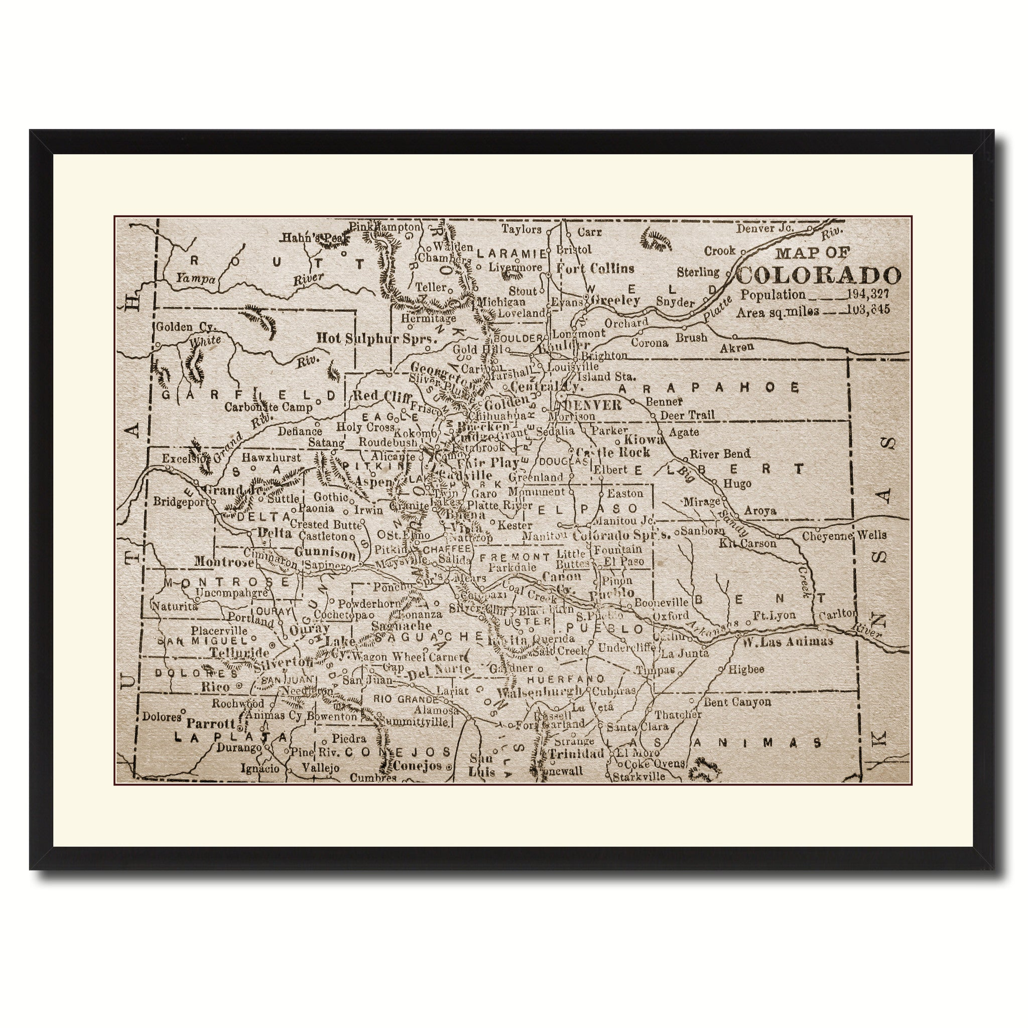 Colorado Vintage Sepia Map Canvas Print, Picture Frame Gifts Home Decor Wall Art Decoration
