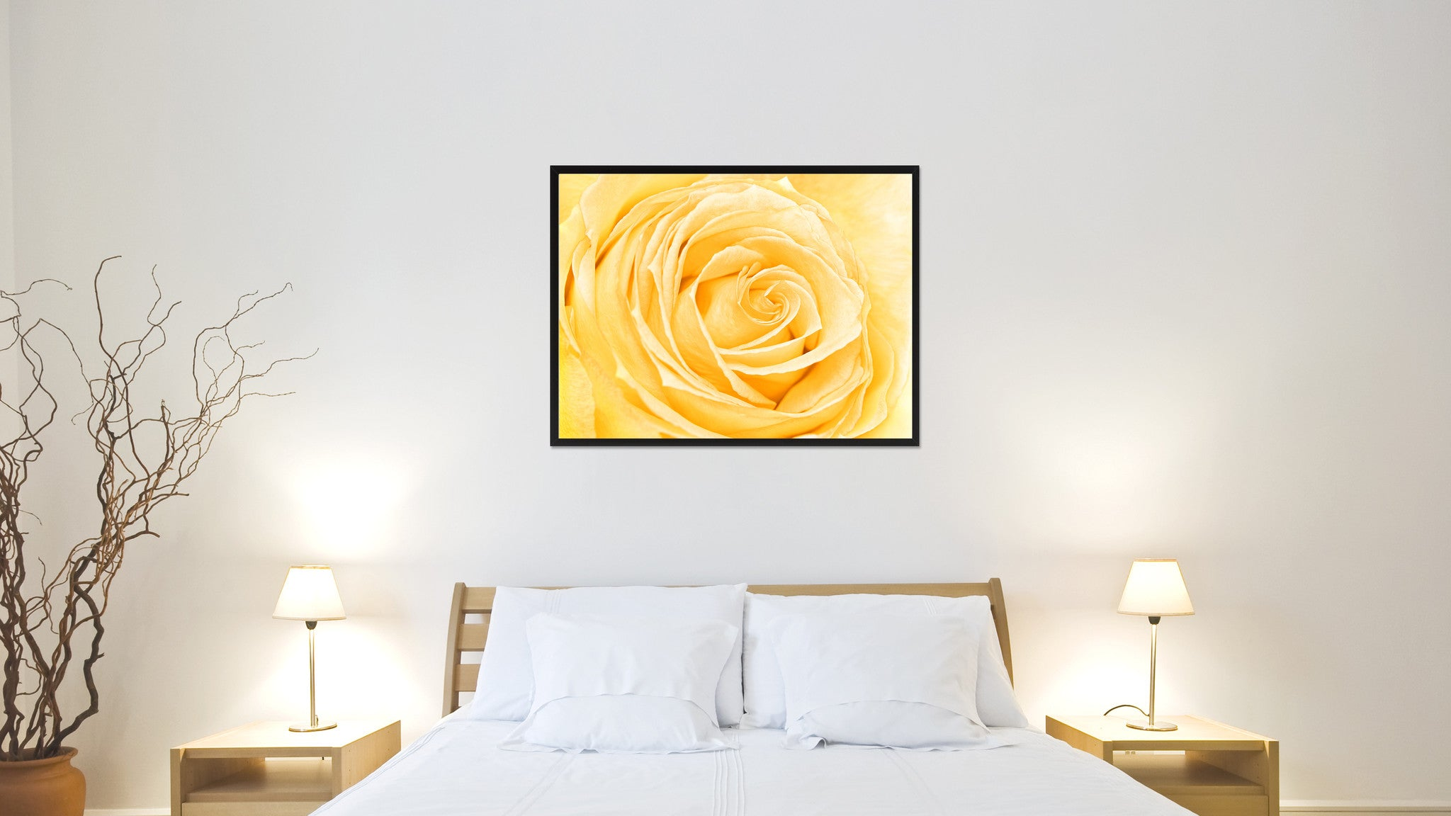 Yellow Rose Flower Wall Art Home Décor Frame – SpotColorArt