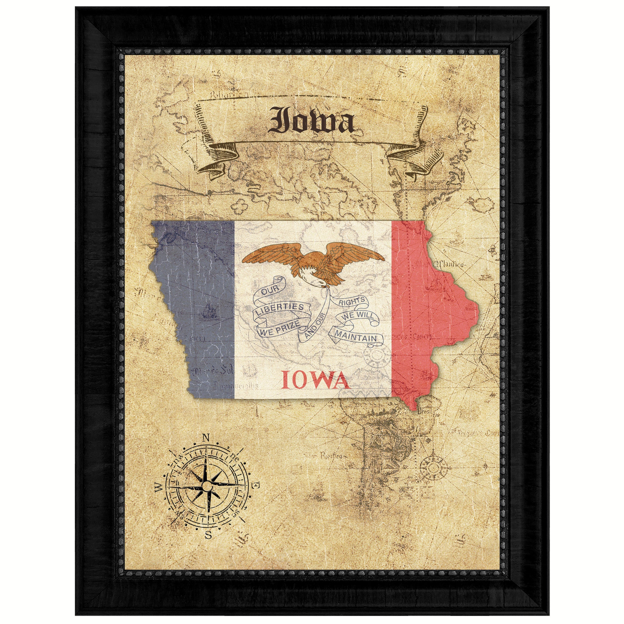Iowa State Vintage Map Gifts Home Decor Wall Art Office Decoration