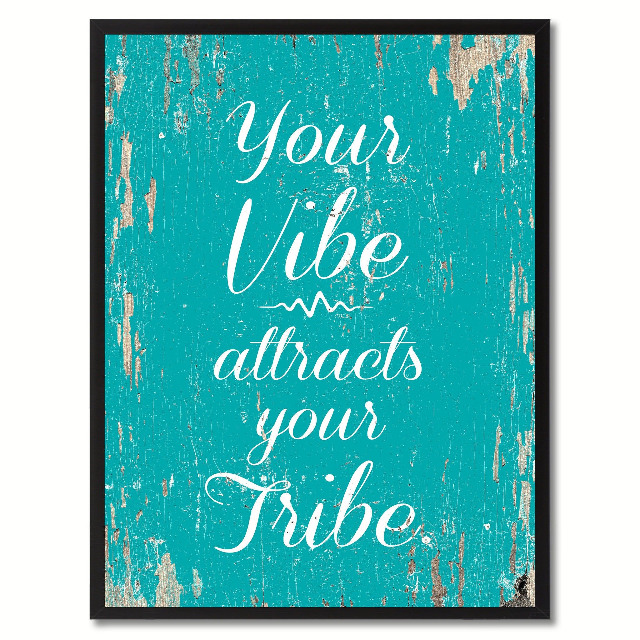 Your vibe attracts your tribe Inspirational Quote Saying Framed Canvas Print Gift Ideas Home Decor Wall Art, Aqua