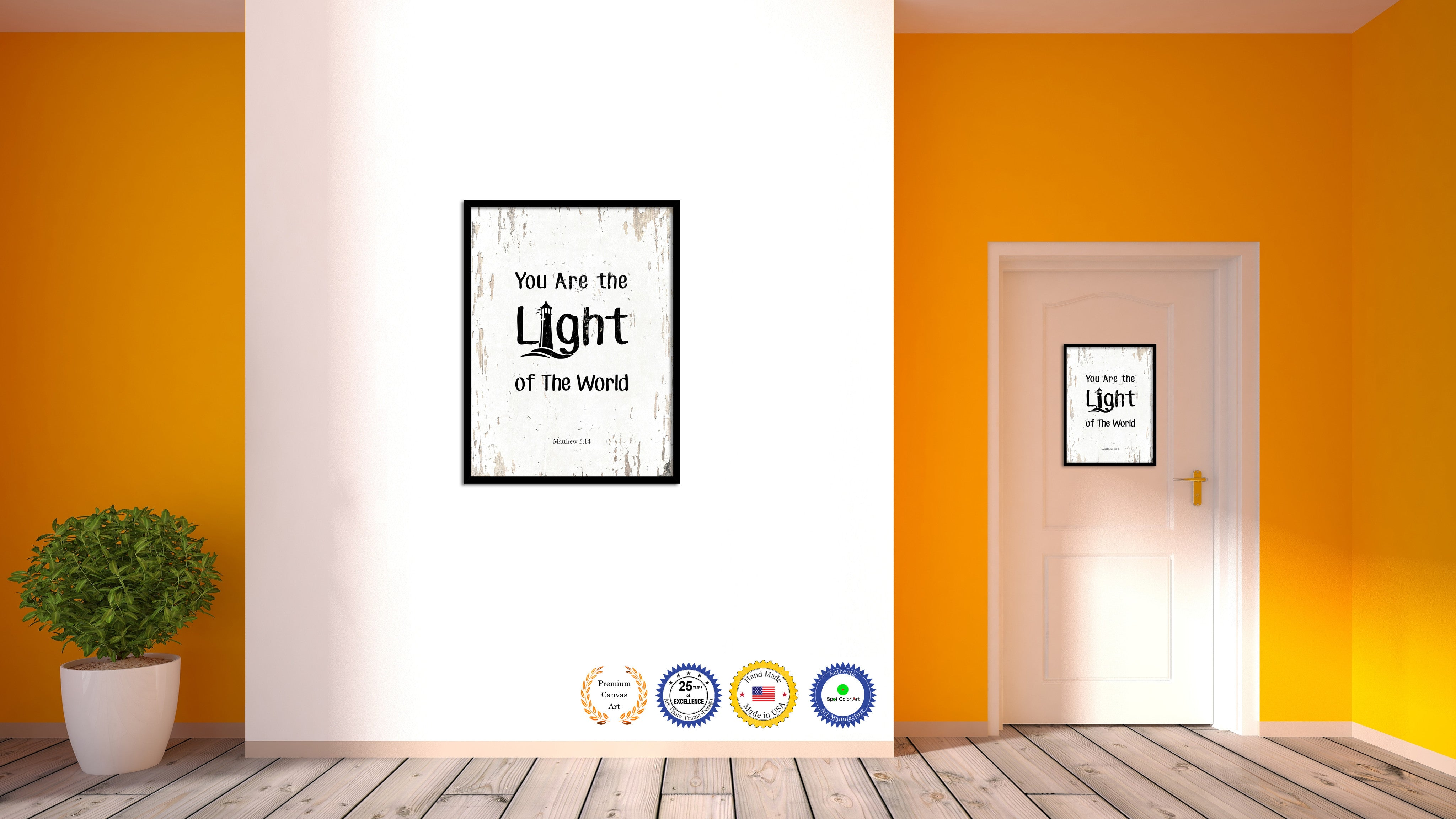 You Are the Light of The World - Matthew 5:14 Bible Verse Scripture Quote White Canvas Print with Picture Frame