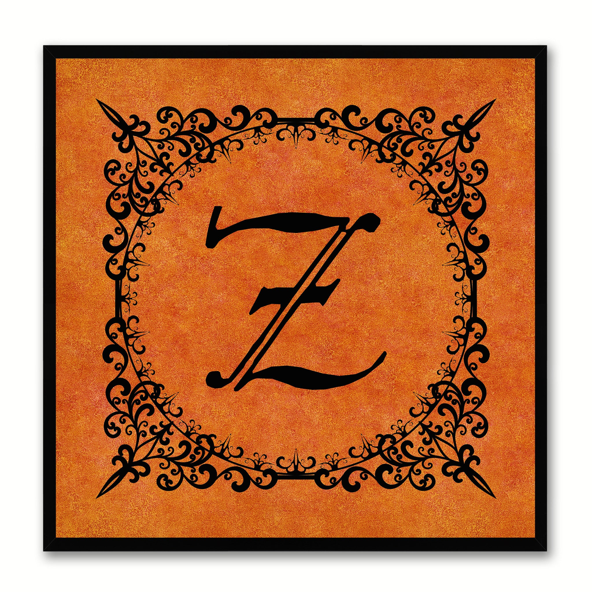 Alphabet Z Orange Canvas Print Black Frame Kids Bedroom Wall Décor Home Art