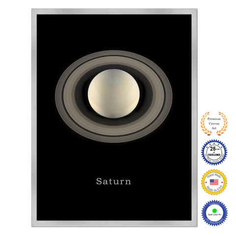 Uranus Print on Canvas Planets of Solar System Silver Picture Framed Art Home Decor Wall Office Decoration