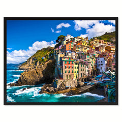 Riomaggiore Fisherman Village Landscape Photo Canvas Print Pictures Frames Home Décor Wall Art Gifts