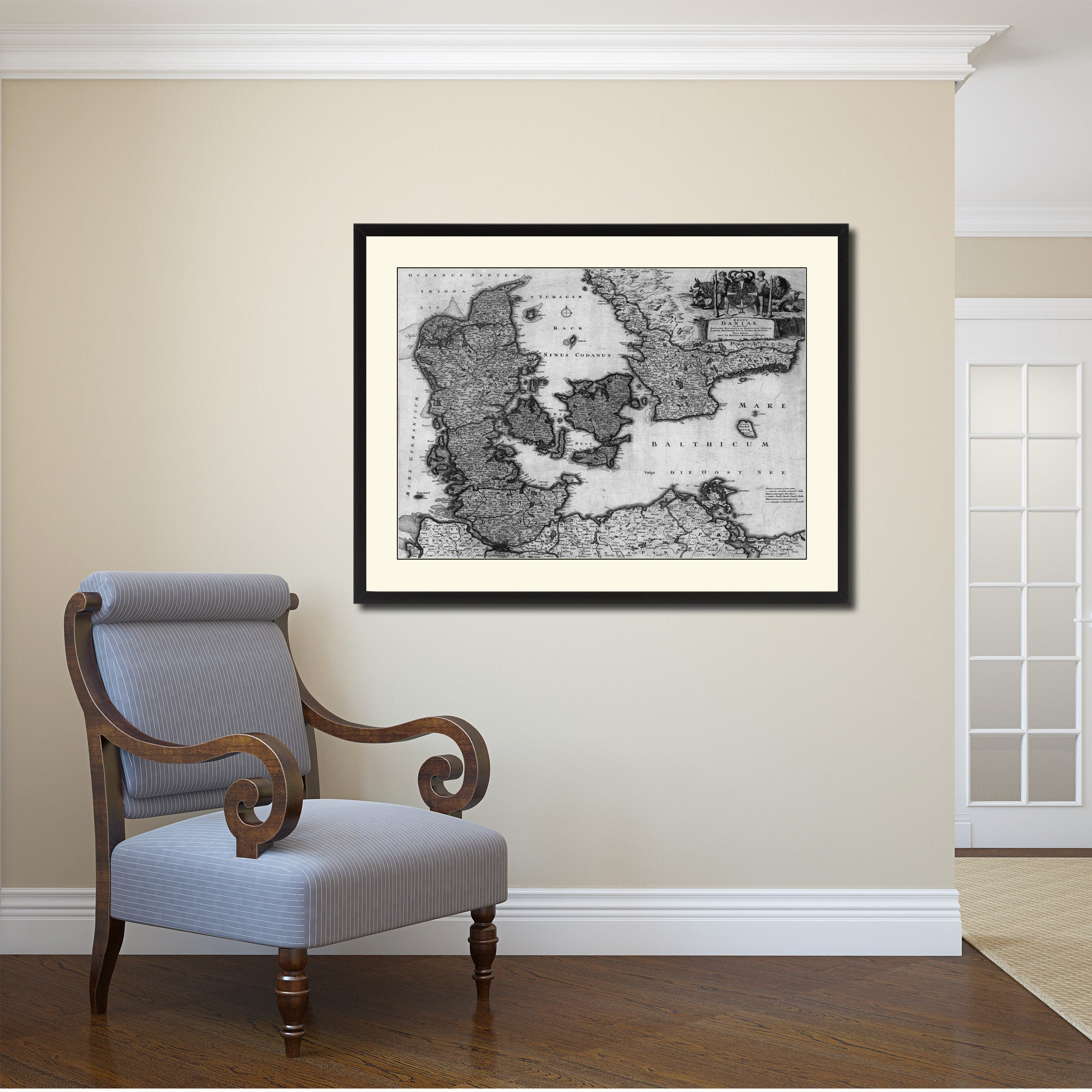 Denmark Centuries Vintage B&W Map Canvas Print, Picture Frame Home Decor Wall Art Gift Ideas