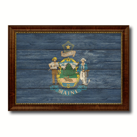 Maine State Flag Texture Canvas Print with Brown Picture Frame Gifts Home Decor Wall Art Collectible Decoration