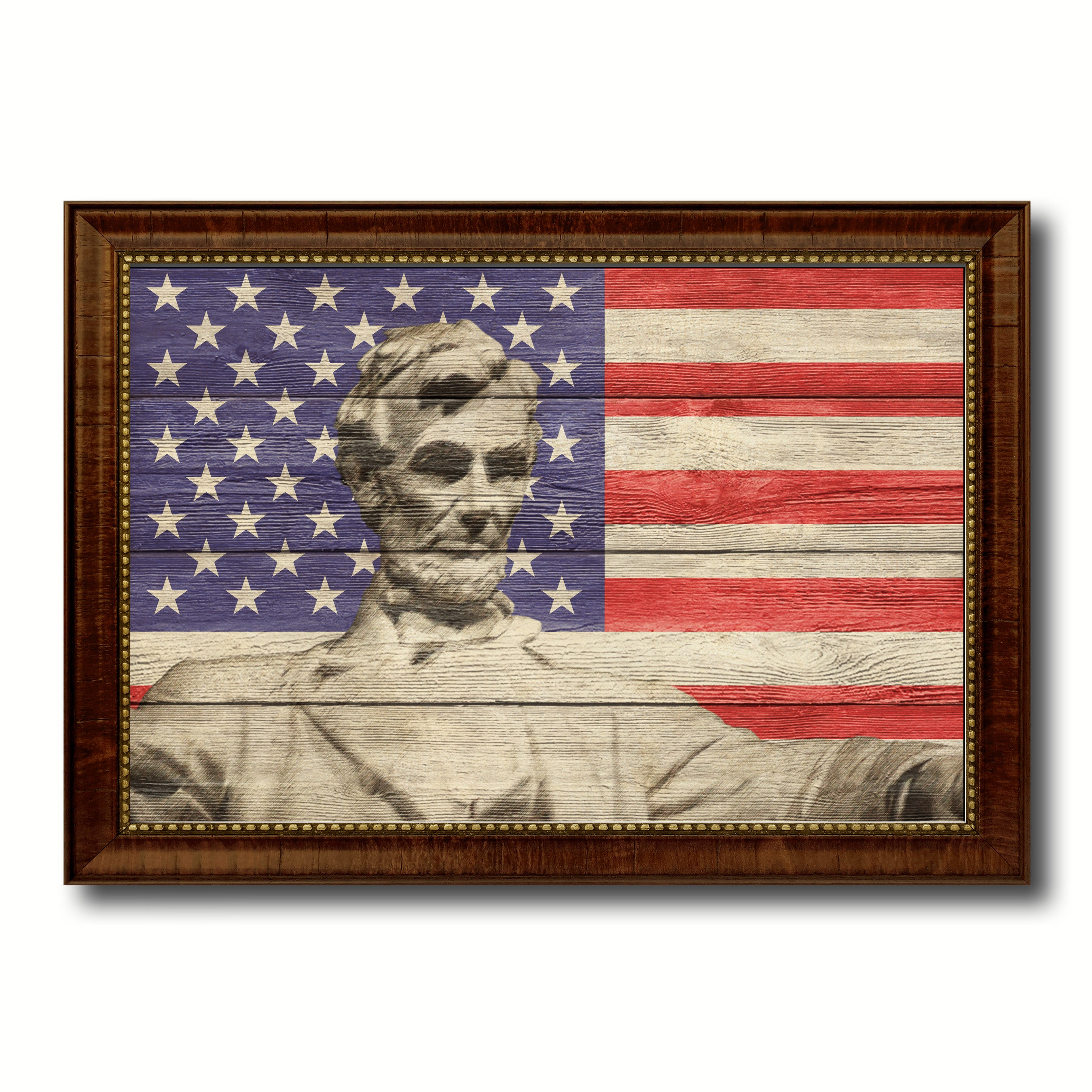 USA Abraham Lincoln Memorial American Flag Texture Canvas Print with Brown Picture Frame Gifts Home Decor Wall Art Collectible Decoration Artwork