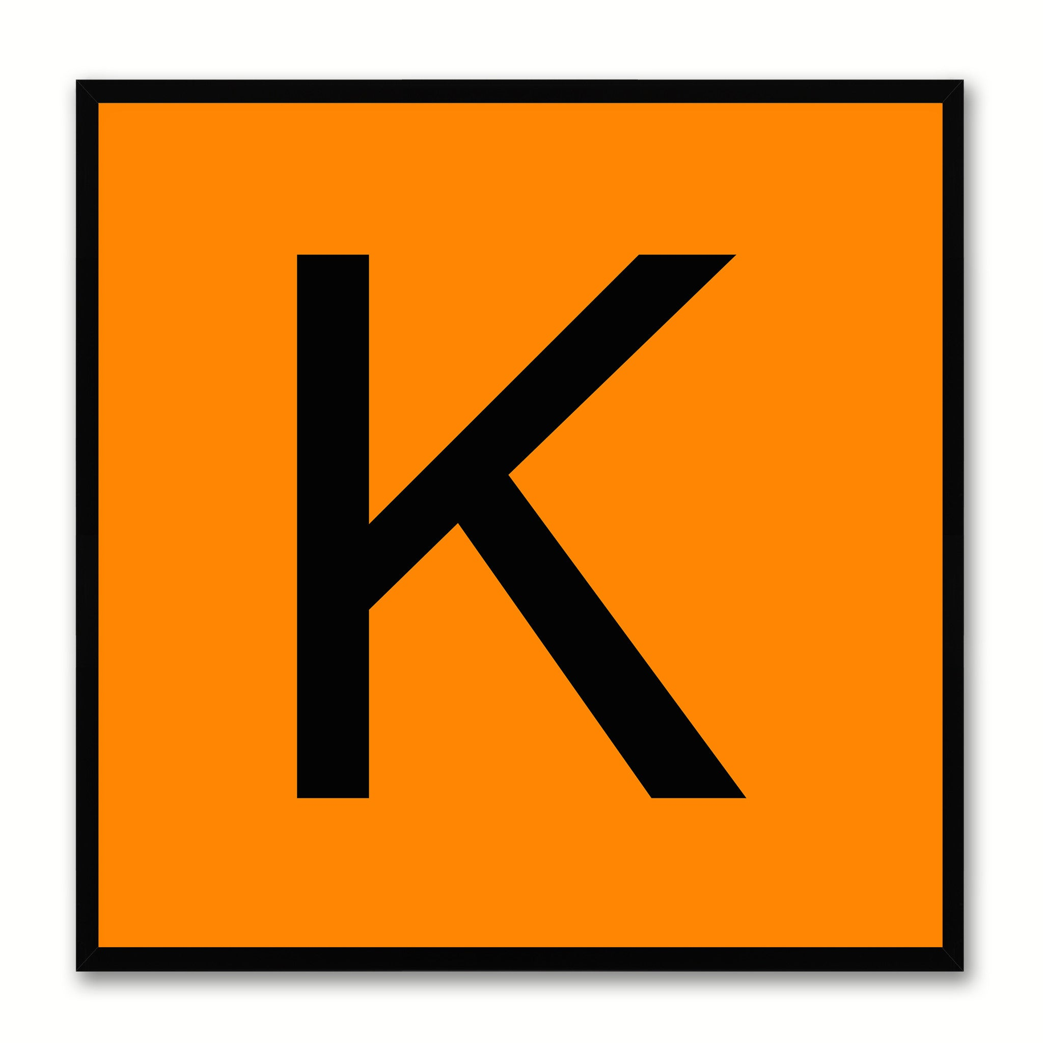 Alphabet K Orange Canvas Print Black Frame Kids Bedroom Wall Décor Home Art