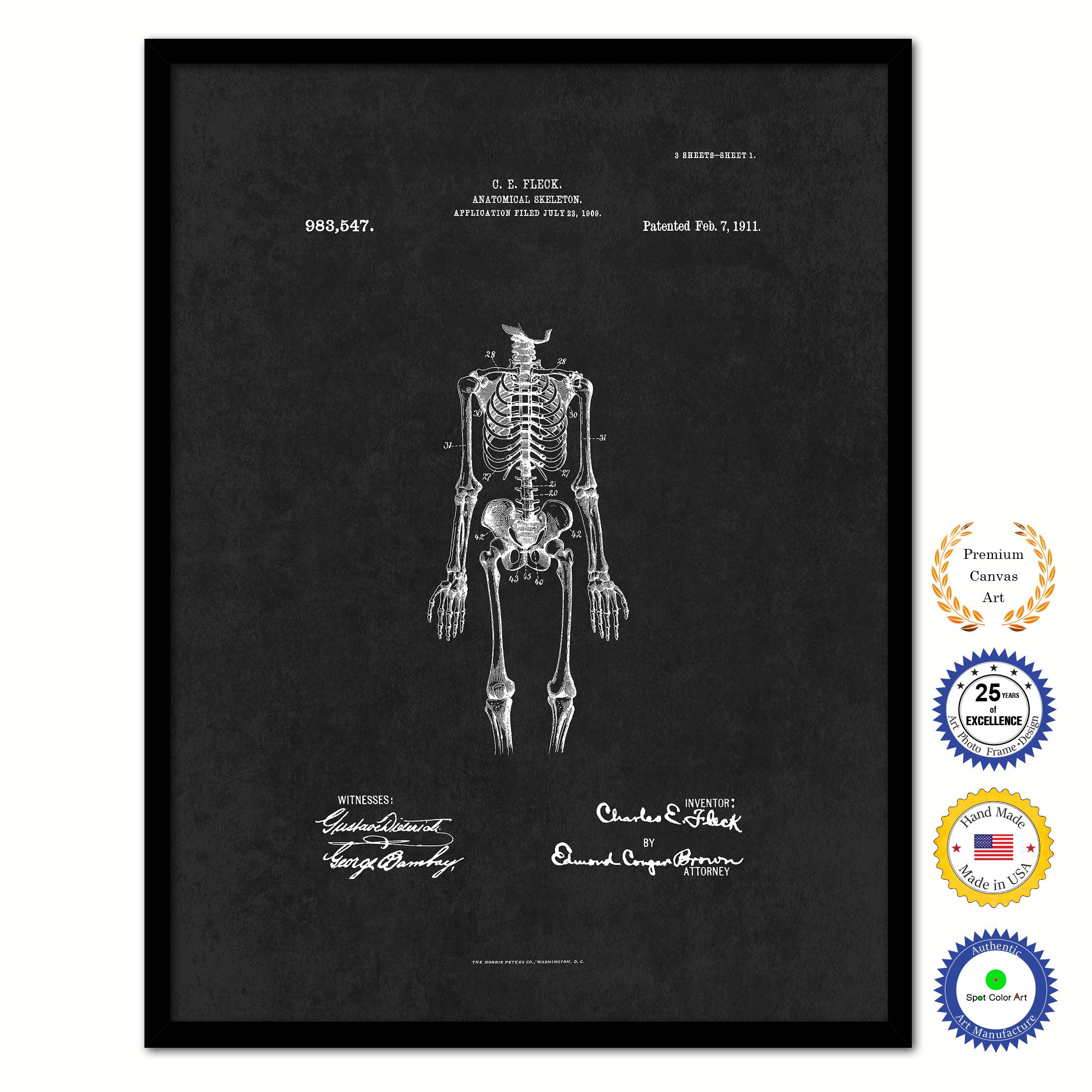 1911 Doctor Anatomical Skeleton Vintage Patent Artwork Black Framed Canvas Home Office Decor Great for Doctor Paramedic Surgeon Hospital Medical Student