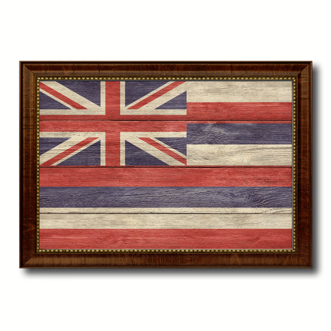 Hawaii State Flag Texture Canvas Print with Brown Picture Frame Gifts Home Decor Wall Art Collectible Decoration