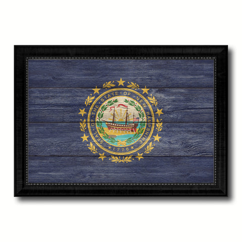 New Hampshire State Flag Texture Canvas Print with Black Picture Frame Home Decor Man Cave Wall Art Collectible Decoration Artwork Gifts