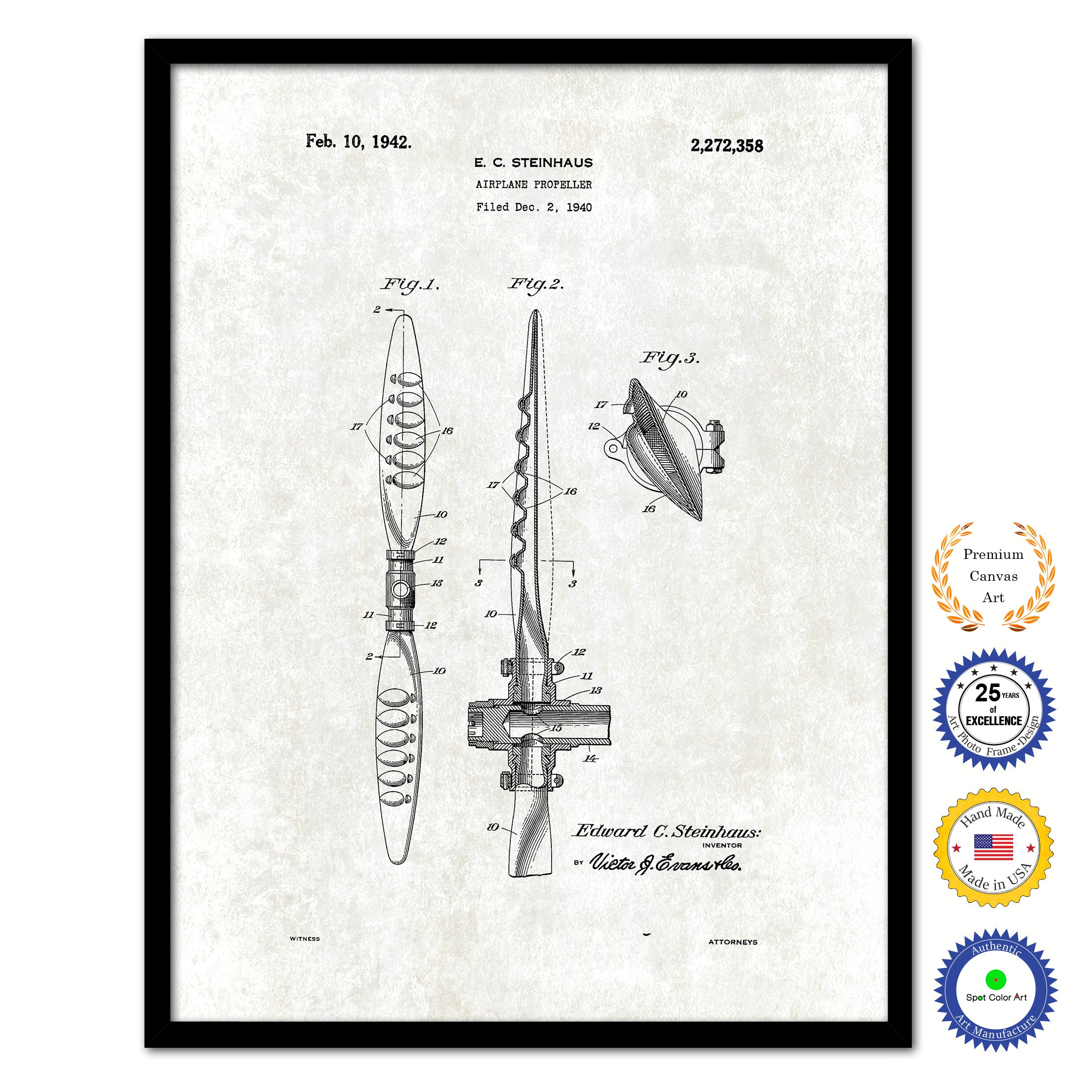 1942 Airplane Propeller Vintage Patent Artwork Black Framed Canvas Print Home Office Decor Great for Pilot Gift