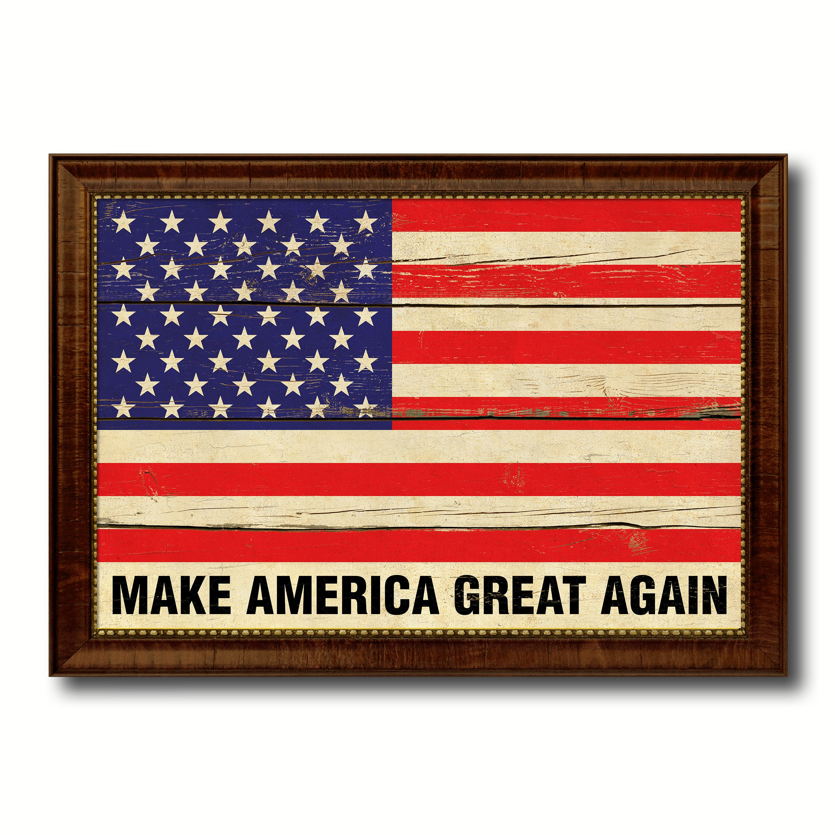 Make America Great Again USA Flag Vintage Canvas Print With Black Picture  Frame Home Decor Wall Art Decoration Gift Ideas