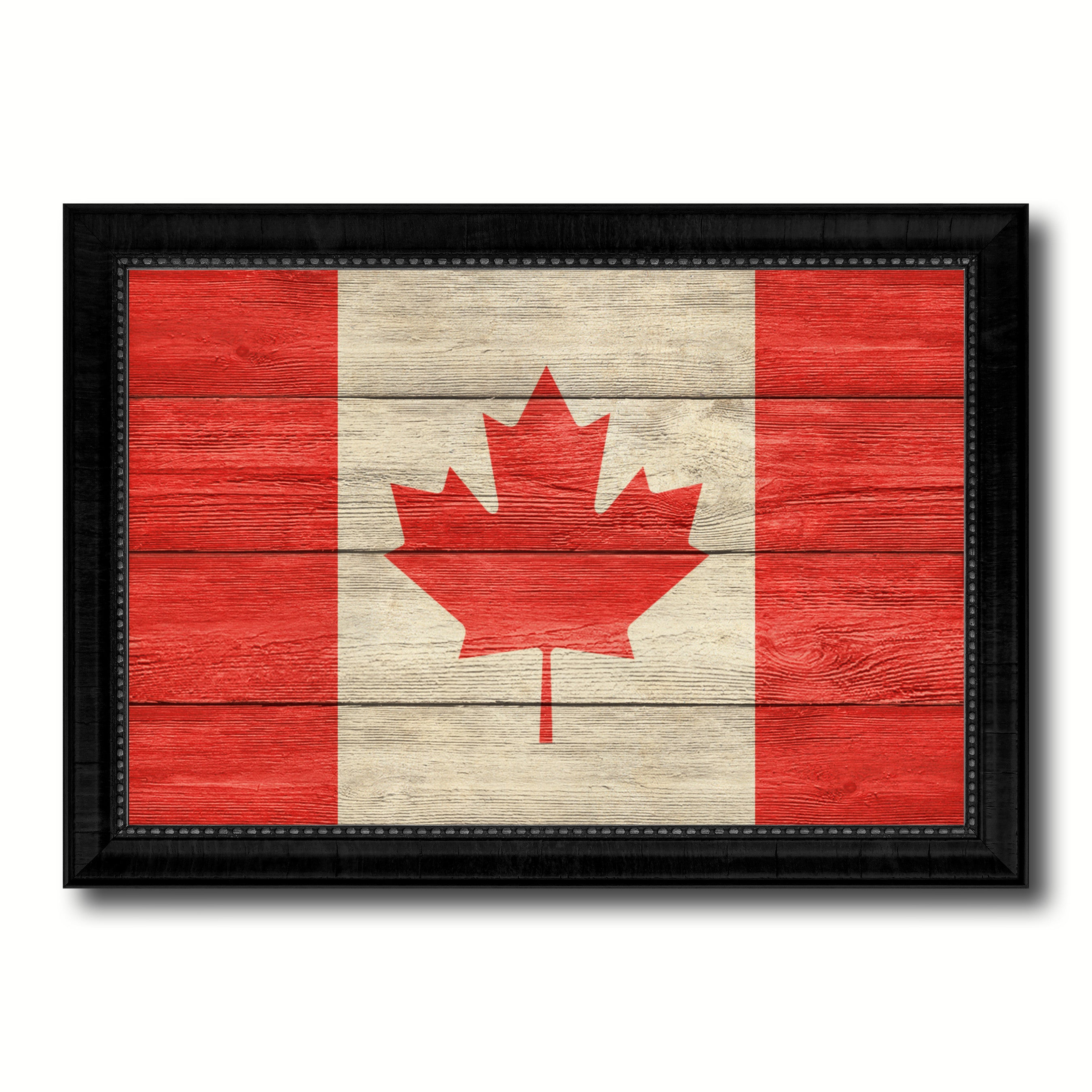 Canada Country Flag Texture Canvas Print with Black Picture Frame Home Decor Wall Art Decoration Collection Gift Ideas