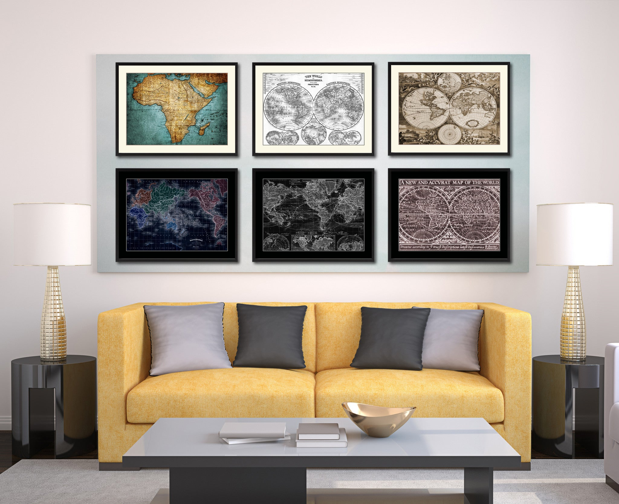 World Hemispheres Vintage Sepia Map Canvas Print Picture Frame Gifts Home Decor Wall Art Decoration