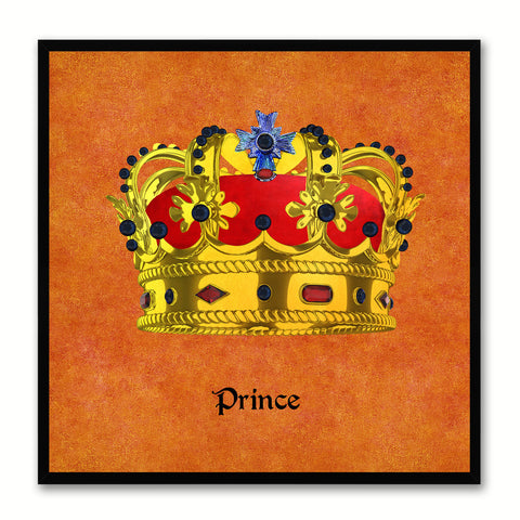 Prince Orange Canvas Print Black Frame Kids Bedroom Wall Home Décor