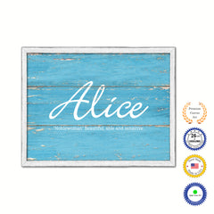 Alice Name Plate White Wash Wood Frame Canvas Print Boutique Cottage Decor Shabby Chic