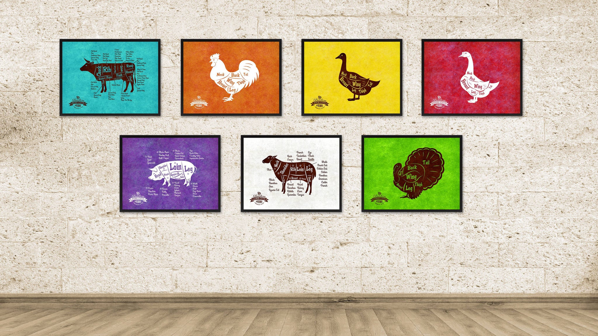 Duck Meat Cuts Butchers Chart Canvas Print Picture Frame Home Decor Wall Art Gifts