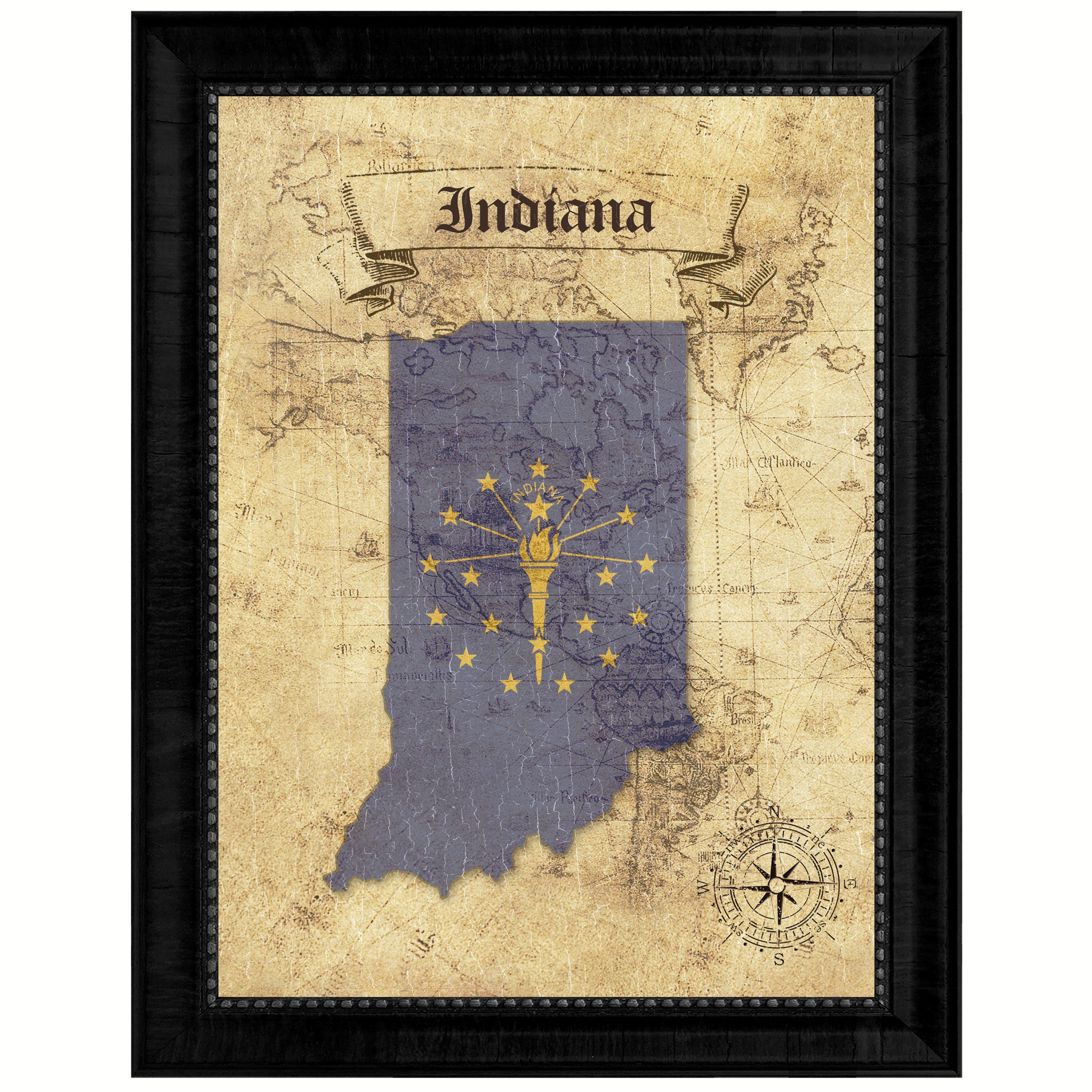 Indiana State Vintage Map Art Office Wall Home Decor Rustic Gift ...