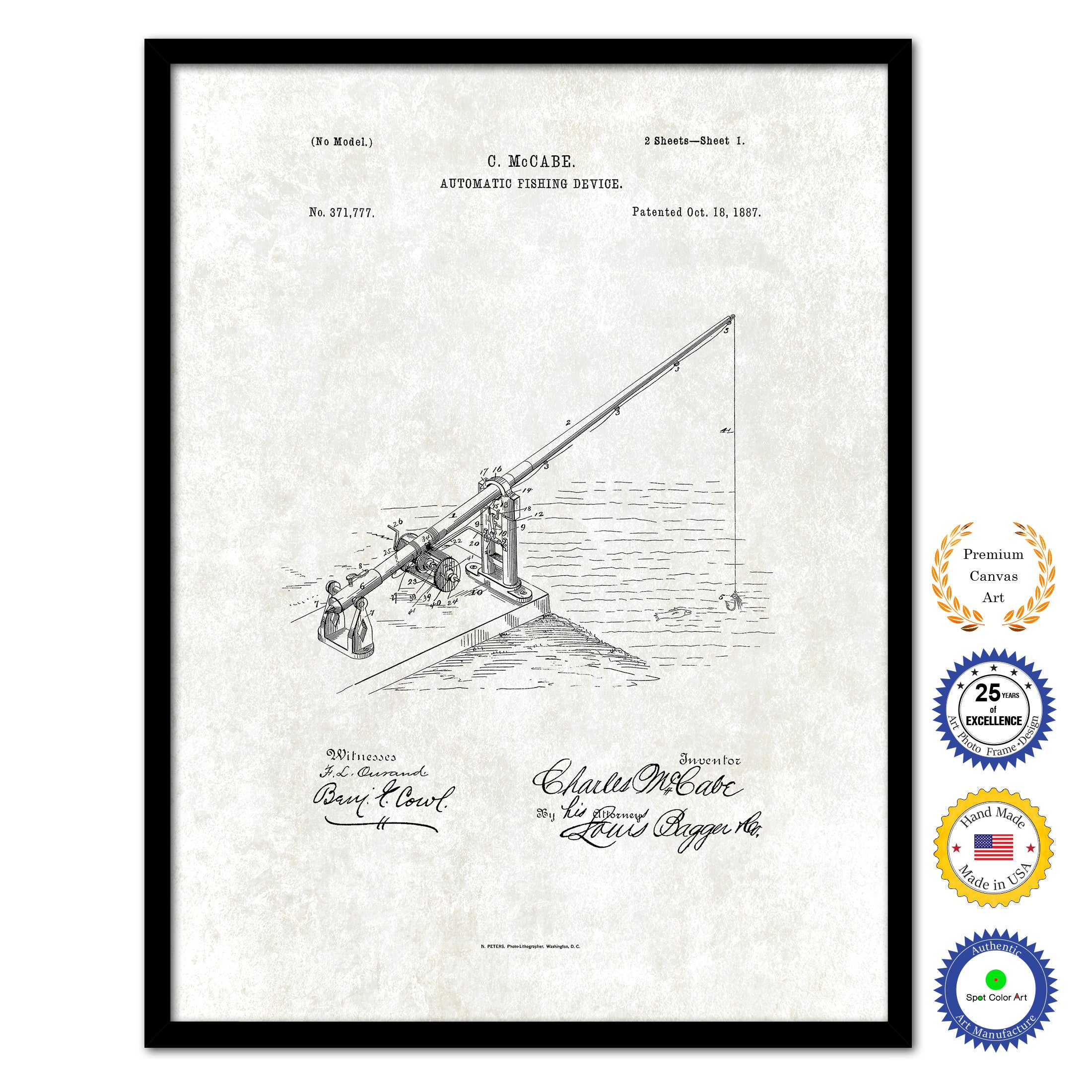 1887 Fishing Automatic Fishing Device Vintage Patent Artwork Black Framed  Canvas Print Home Office Decor Great For Fisherman Cabin Lake House
