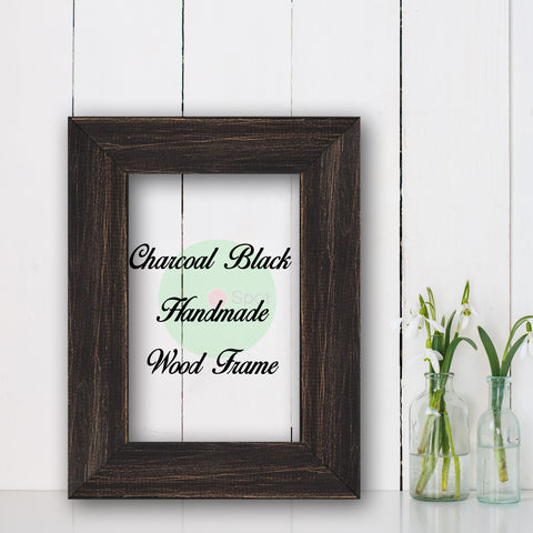 Charcoal Black Shabby Chic Home Decor Custom Frame Great for Farmhouse Vintage Rustic Wood Picture Frame