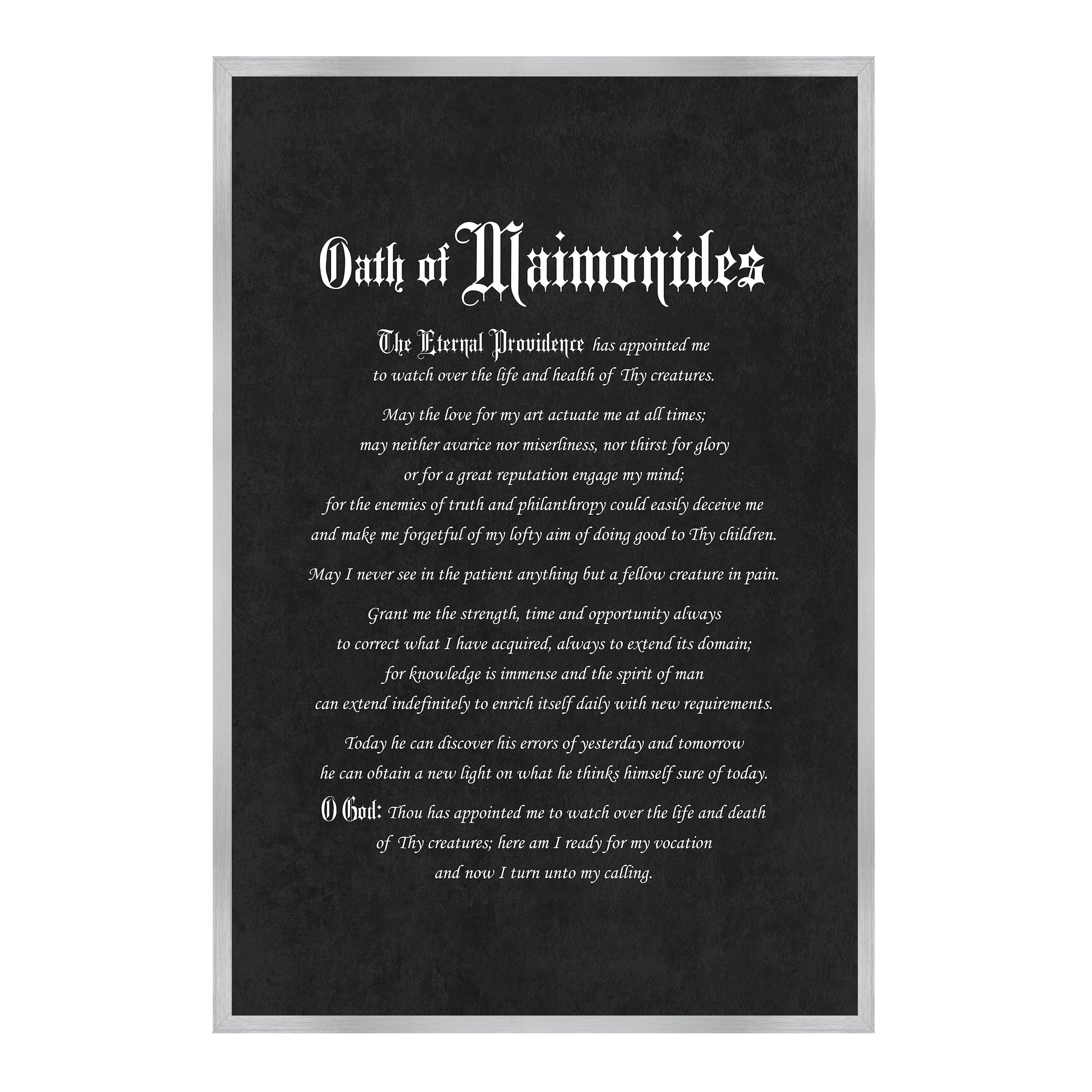 Maimonides Medical Oath, Hippocratic Oath, Medical Gifts, Gift for Doctor, Medical Decor, Medical Student, Office Decor, doctor office, Silver Frame