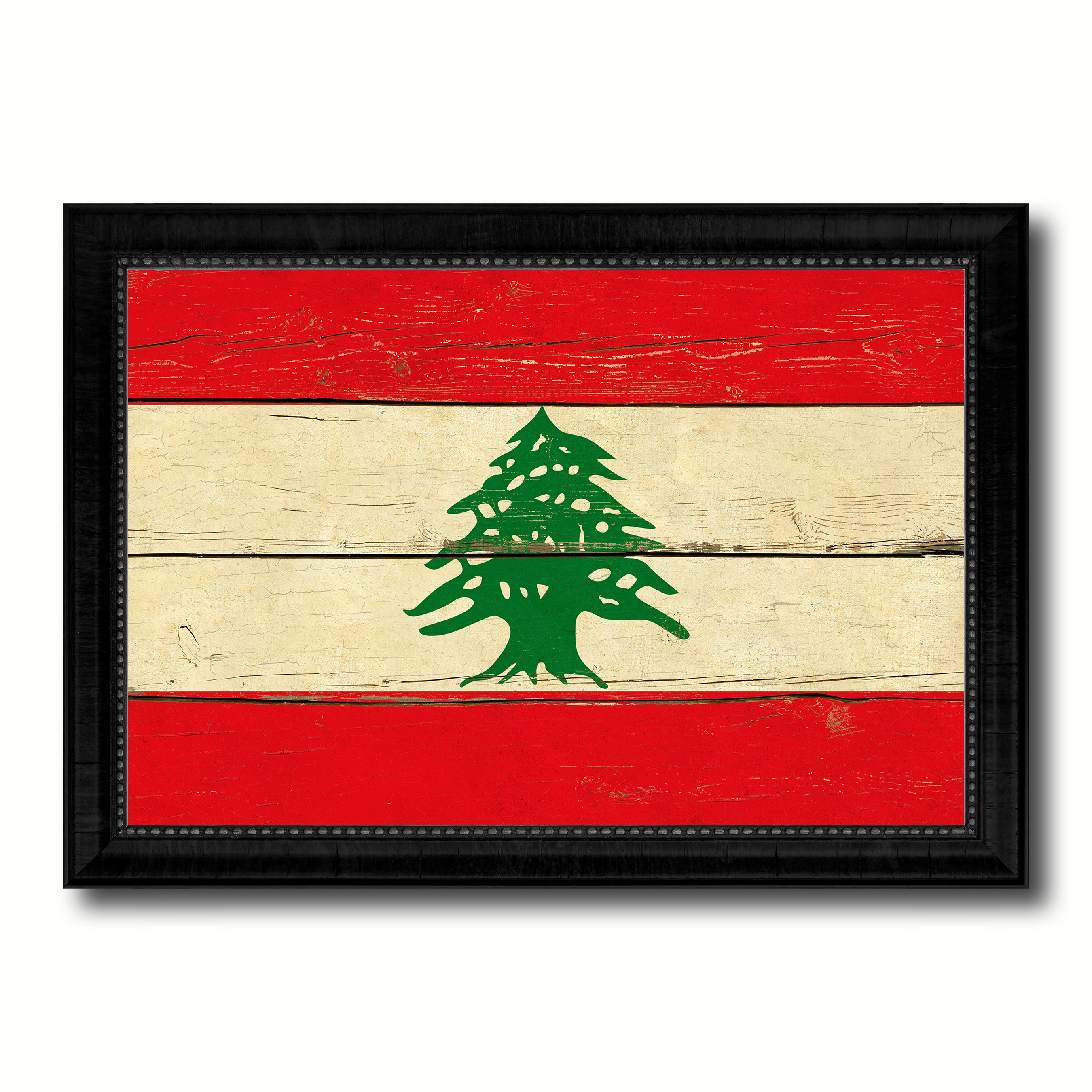 Lebanon Country Flag Vintage Canvas Print with Black Picture Frame Home Decor Gifts Wall Art Decoration Artwork