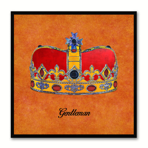 Gentleman Orange Canvas Print Black Frame Kids Bedroom Wall Home Décor