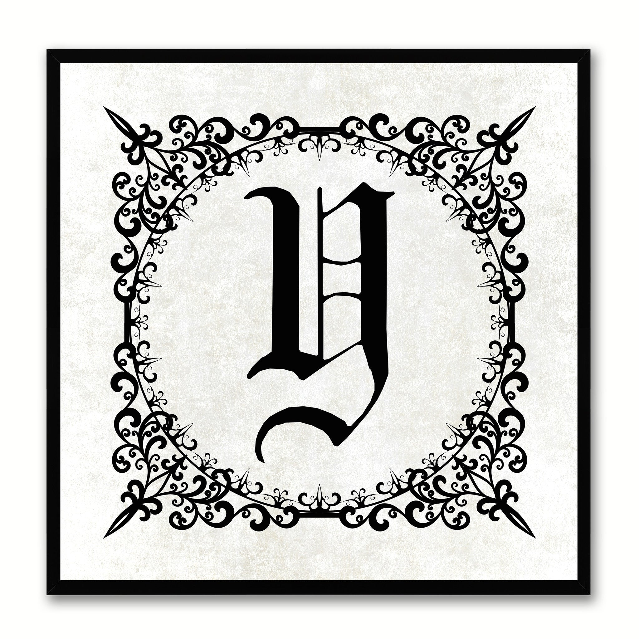 Alphabet Y White Canvas Print Black Frame Kids Bedroom Wall Décor Home Art
