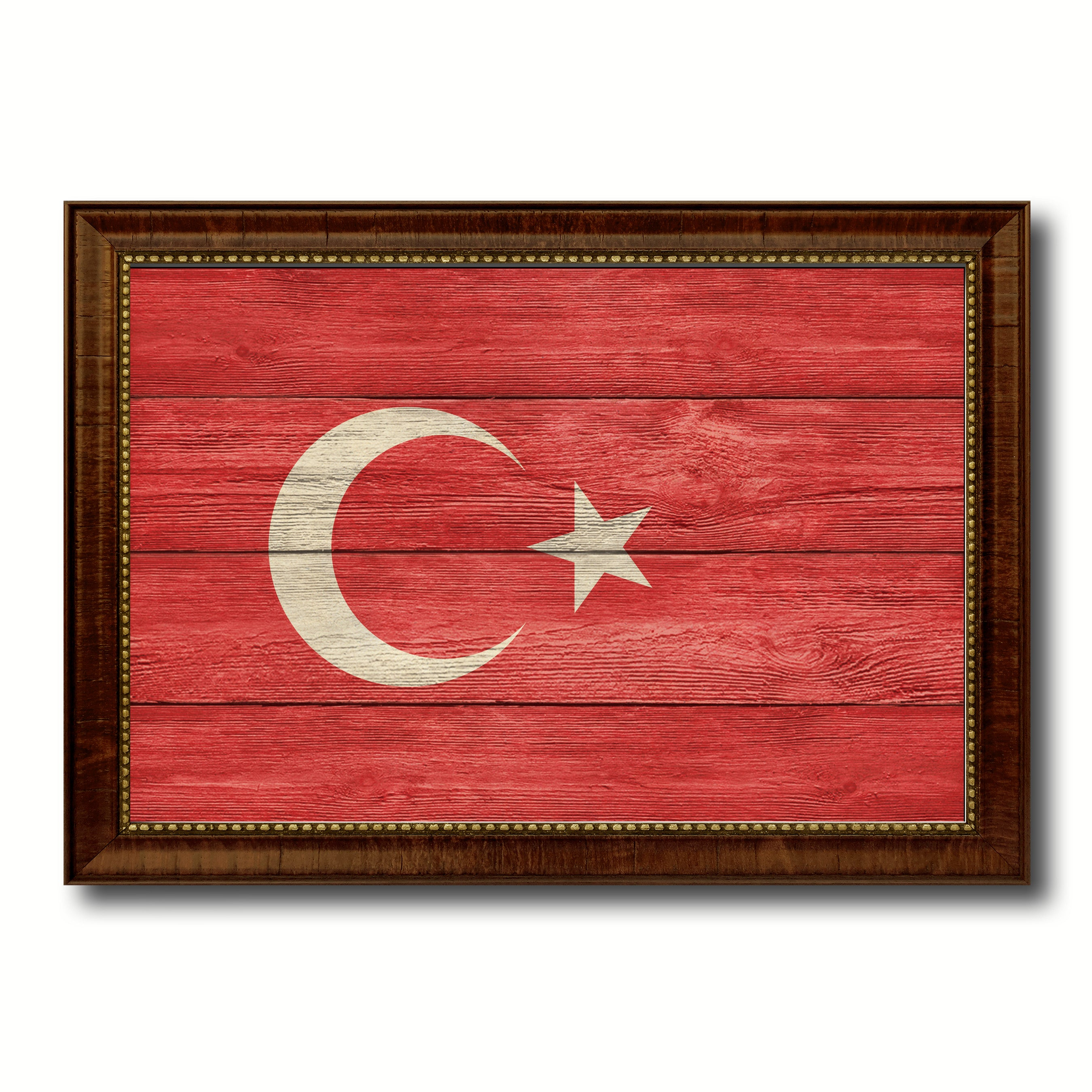 Turkey Country Flag Texture Canvas Print with Brown Custom Picture Frame Home Decor Gift Ideas Wall Art Decoration