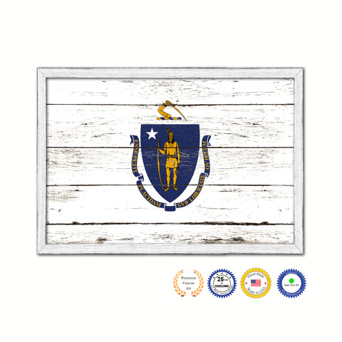Massachusetts State Flag Shabby Chic Gifts Home Decor Wall Art Canvas Print, White Wash Wood Frame