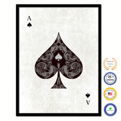 Ace Spades Poker Decks of Vintage Cards Print on Canvas Black Custom Framed