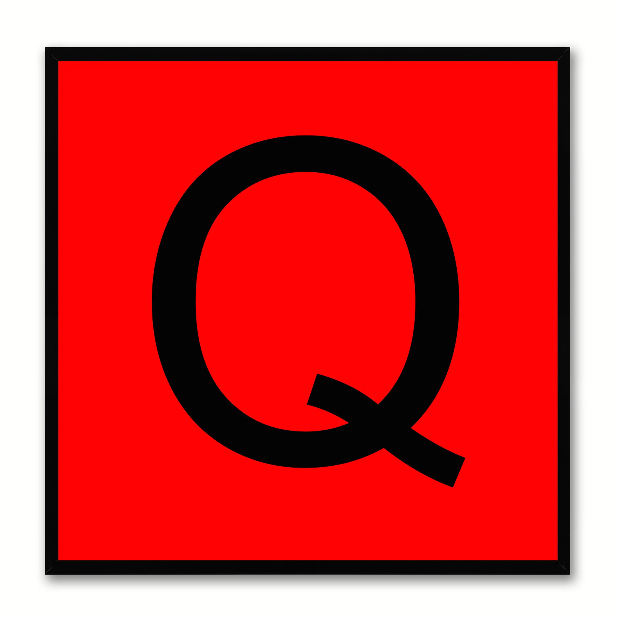Alphabet Q Red Canvas Print Black Frame Kids Bedroom Wall Décor Home Art