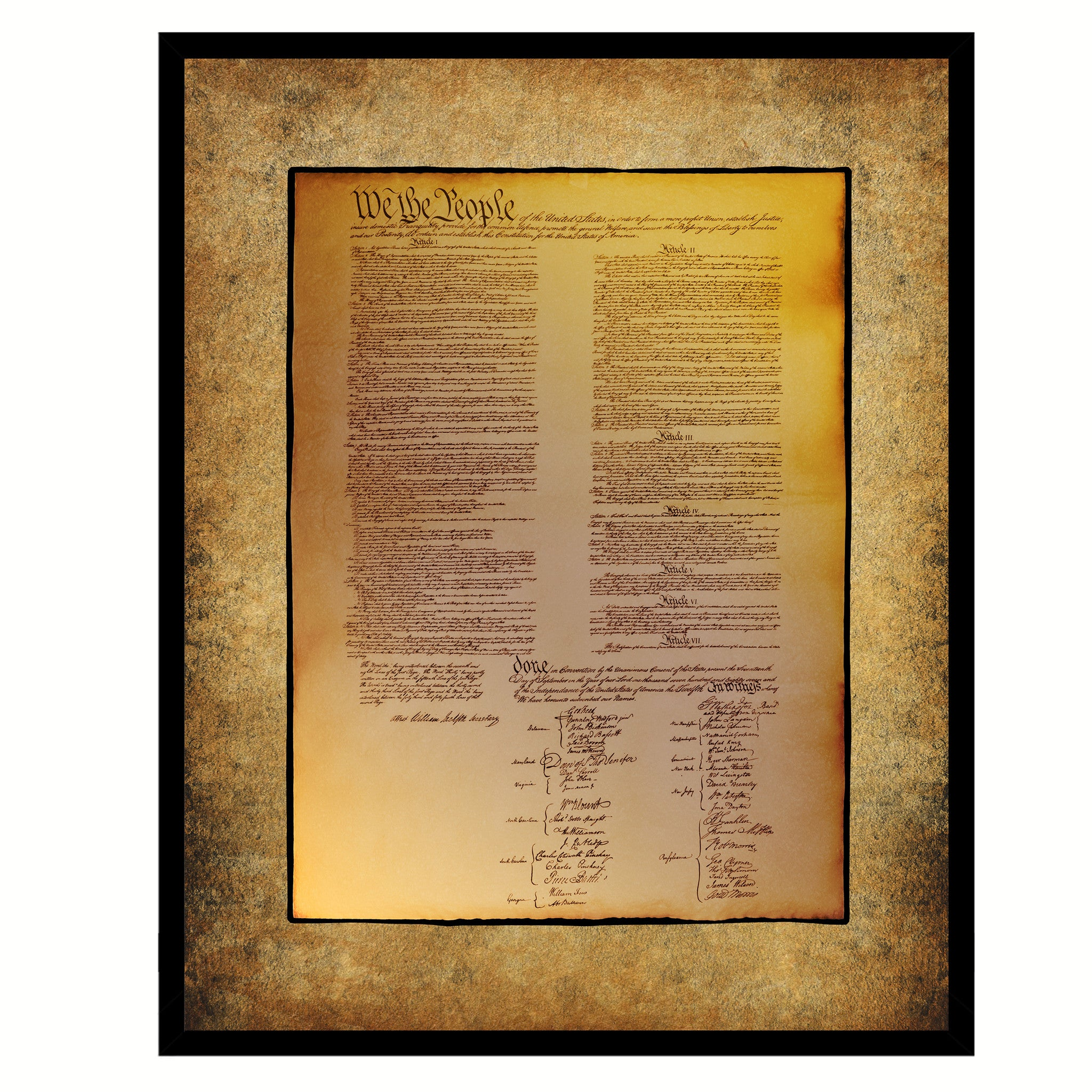 US Constitution We The People Framed Canvas Print Home Décor Wall Art
