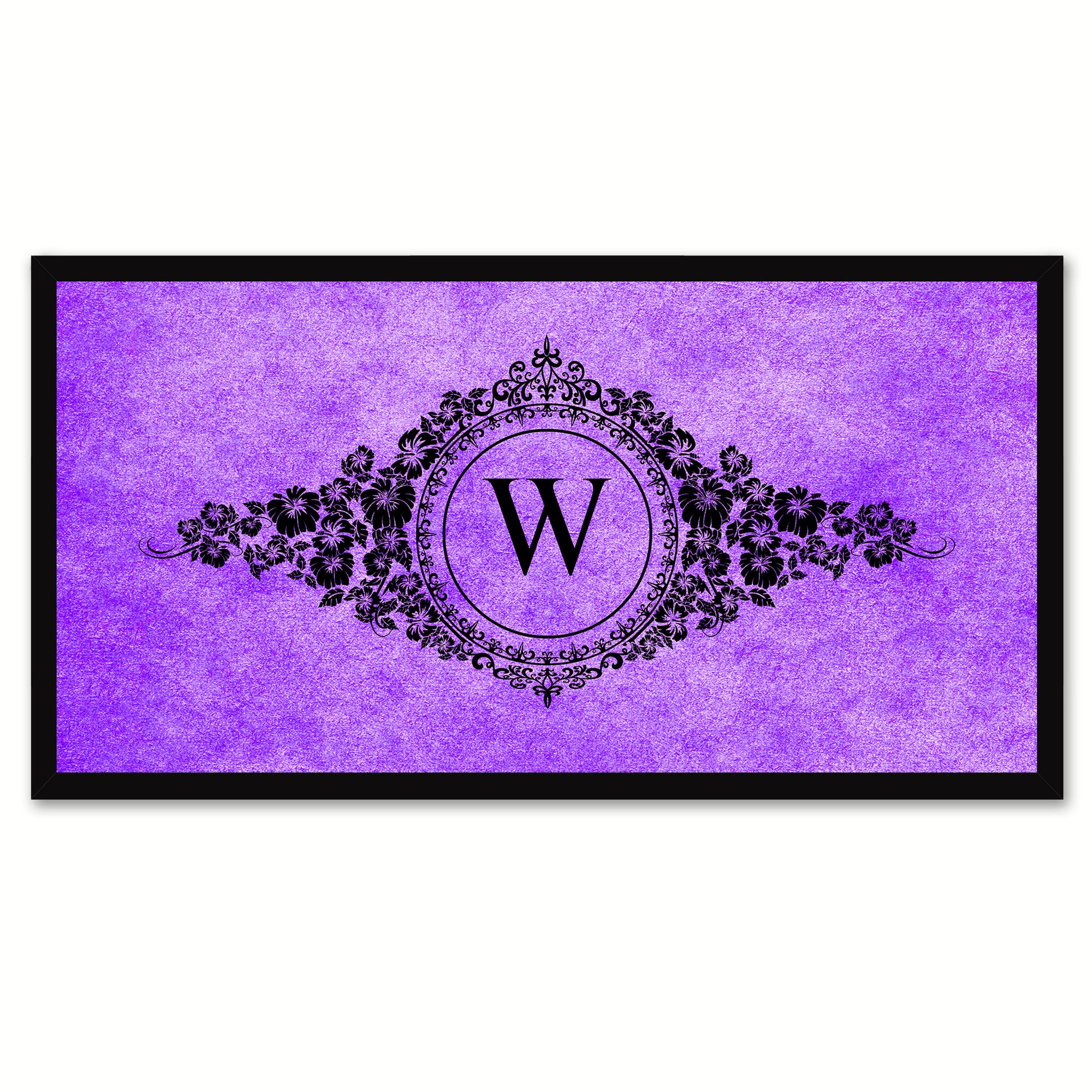 Alphabet Letter W Purple Canvas Print, Black Custom Frame