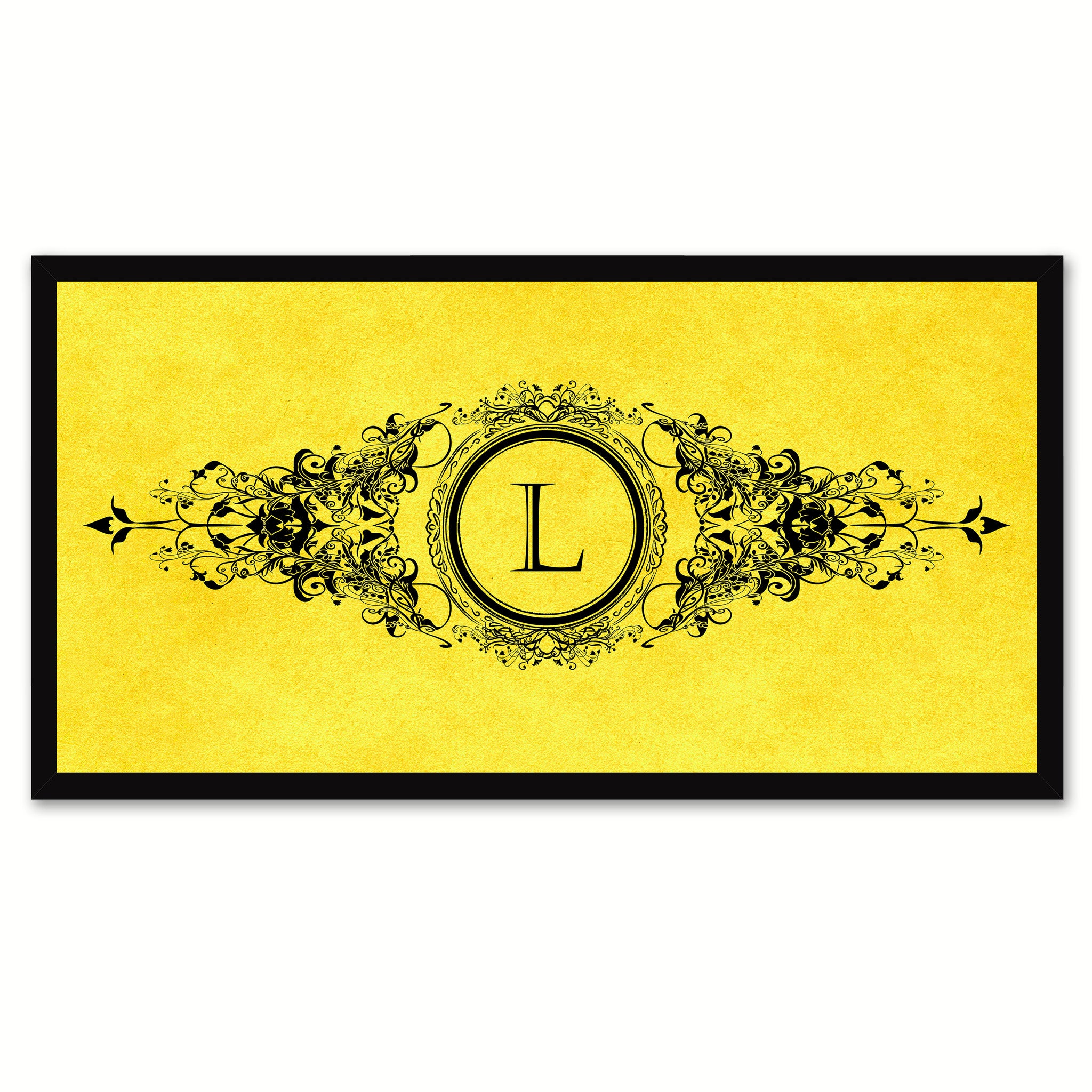 Alphabet Letter L Yellow Canvas Print, Black Custom Frame