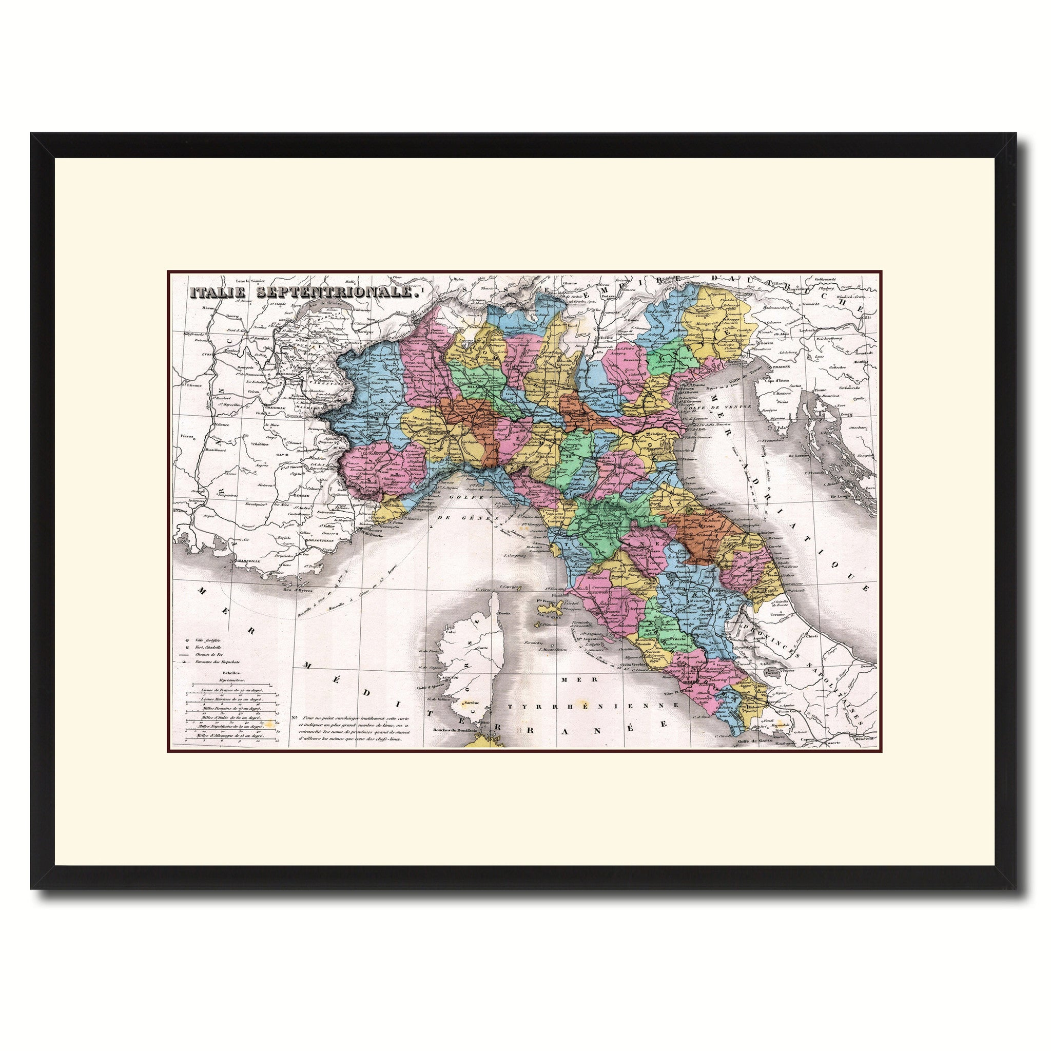 Italy Map Wall Art.North Italy Vintage Antique Map Wall Art Bedroom Home Decor Gift