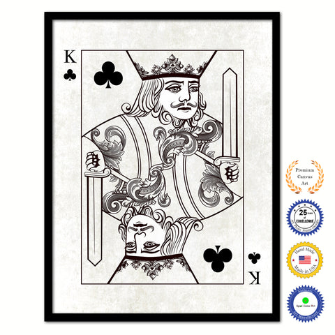 King Heart Poker Decks of Vintage Cards Print on Canvas Black Custom Framed