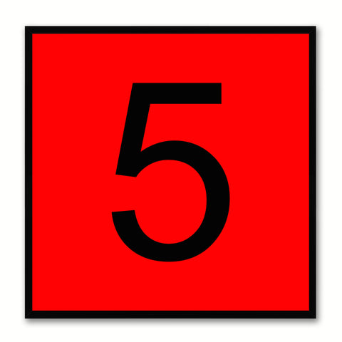 Number 5 Red Canvas Print Black Frame Kids Bedroom Wall Décor Home Art