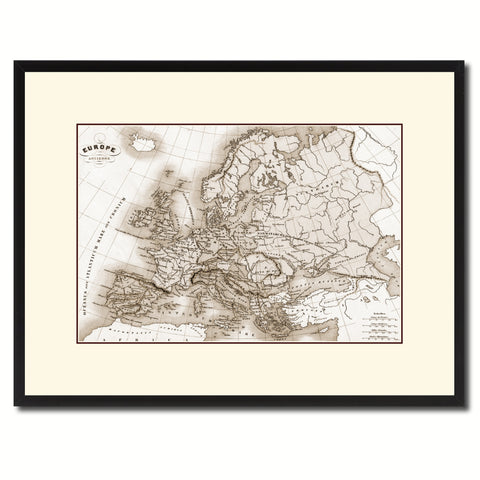 Ancient Europe Vintage Sepia Map Canvas Print, Picture Frame Gifts Home Decor Wall Art Decoration