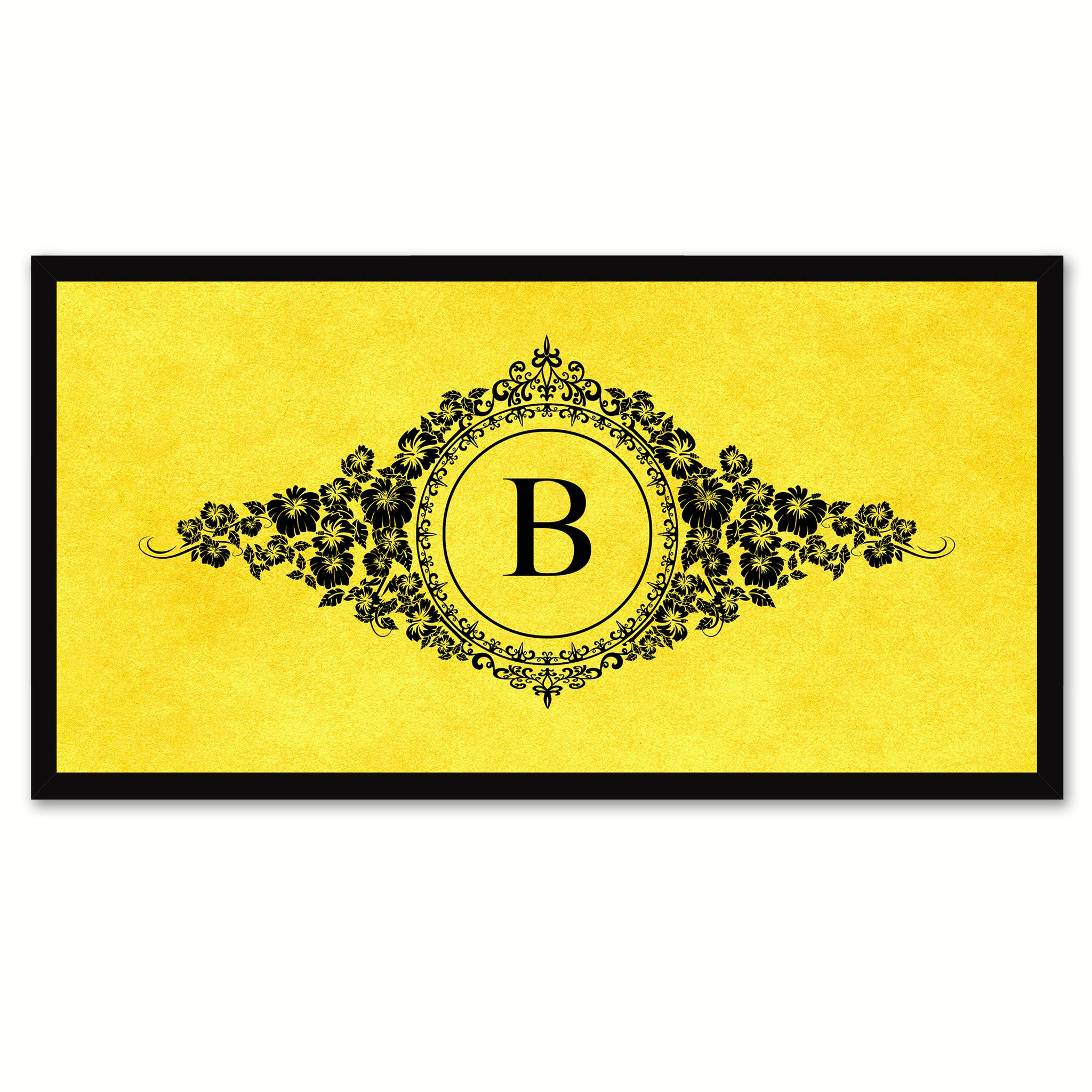 Alphabet Letter B Yellow Canvas Print, Black Custom Frame