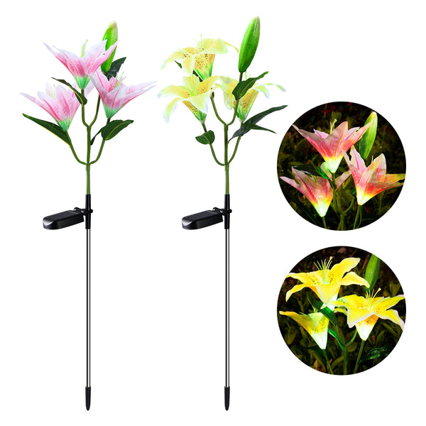 YUNLIGHTS 2pcs Lily Solar Light Solar Powered Garden Stake Lights Lamp Color Changing LED Solar Lights for Garden Patio Backyard Decoration