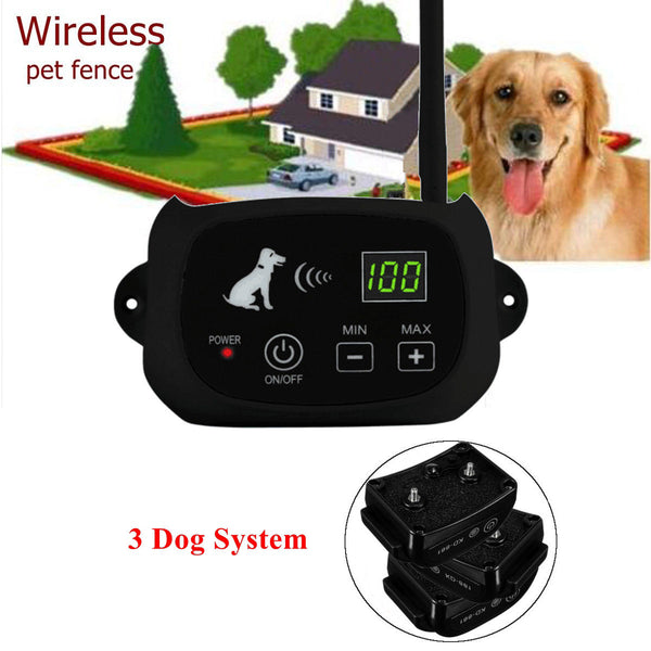 Wireless Dog Fence Waterproof Rechargeable Electric Dog Collar Containment 1-3 Dog System for Outdoor Dog Training (3 Dog System)