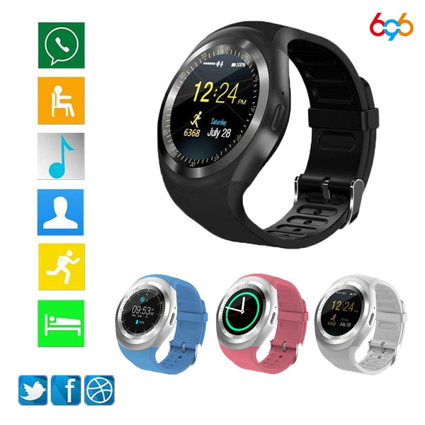 696 Y1 Smart Watchs Round Support Nano SIM &TF Card With Whatsapp And Facebook Men Women Business Smartwatch For Android Phone