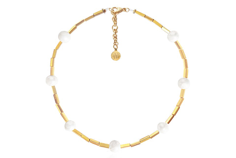 ALAIA NECKLACE WITH FRESHWATER PEARLS & SEMI PRECIOUS STONES