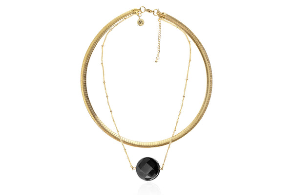 BAL CHOKER NECKLACE WITH SEMI PRECIOUS STONE & STAINLESS STEEL