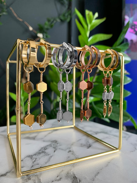 MIEL ROSE GOLD EARRINGS WITH SEMI PRECIOUS STONES & STAINLESS STEEL HOOPS
