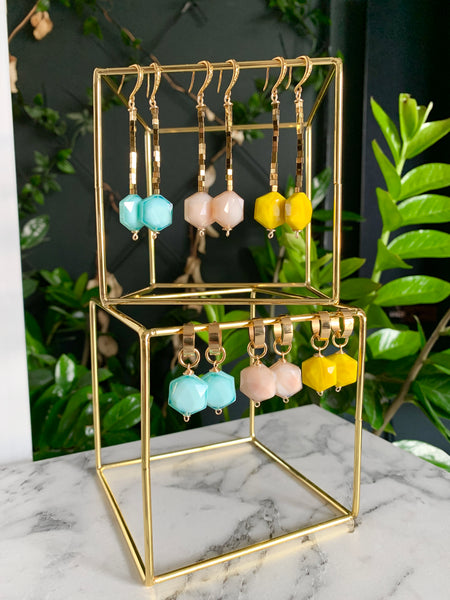 ZANIA LAKE BLUE EARRINGS WITH SEMI PRECIOUS STONES & 24K GOLD PLATED BRASS HOOKS