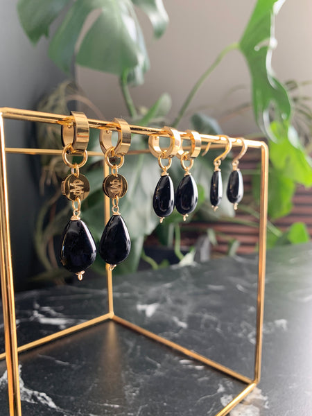 MONT MEDIUM  BLACK EARRINGS WITH SEMI PRECIOUS STONES & STAINLESS STEEL HOOPS